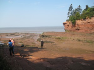 A small portion of Bay of Fundy is touching the U.S. state of Maine.